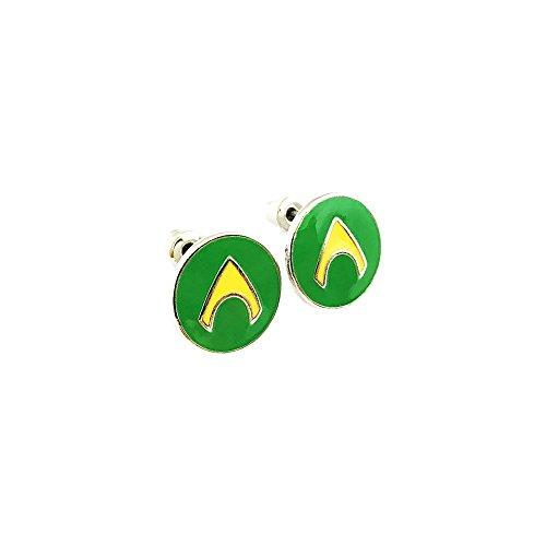 Aquaman Superhero Silver Tone Cartoon Comic Logo Post Earrings w/Gift Box by Superheroes