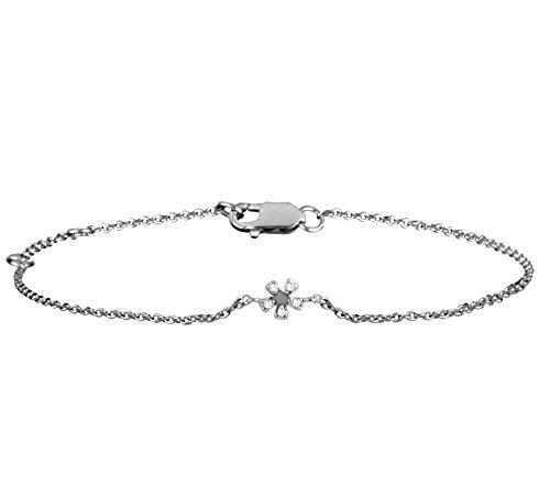 Or Blanc 9 ct Bracelet Diamant en forme de Fleur, 0.03 Ct Diamant, GH-SI, 1.53 grammes.