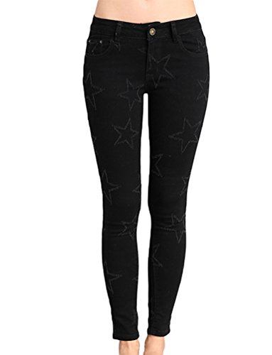 Jeans Pantaloni Skinny 1 Elastico Donna Denim Anguang Nero Ripped Leggings Lunghi Matita zUWO6q