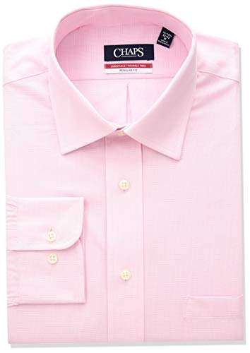 - Chaps Men's Dress Shirts Regular Fit Check Spread Collar, Pink, 17