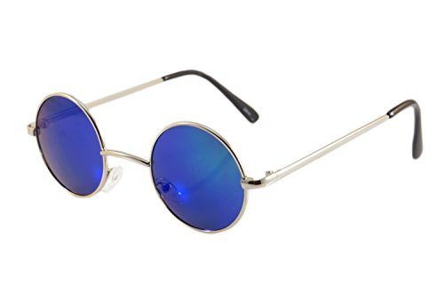 FBL Vintage John Lennon Round Sunglasses Mirrored/ Smoke Lens (z.Silver/ Green RV, - Mens Glasses Funky