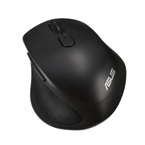 ASUS MW203 Multi-Device Wireless Silent Mouse, 2.4GHz with USB Nano Receiver, 2400 DPI Optical Tracking, 6 Buttons, Compatible with PC/Laptop – Black