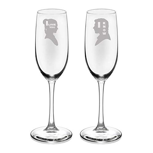 Brindle Southern I Love You I Know Champagne Flutes, Etched SW Champagne Glassware Gift Set - Wedding gift, Couples Gift, Anniversary ()