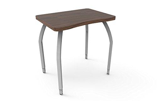 ELO Plymouth II desk, Grey Nebula laminate & banding w/4 adjustable smooth silver legs (Particle Board Nebula)