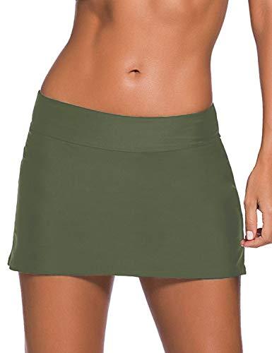 REKITA Women Swim Skirt Solid Color Waistband Skort Bikini Bottom (M, Army Green)
