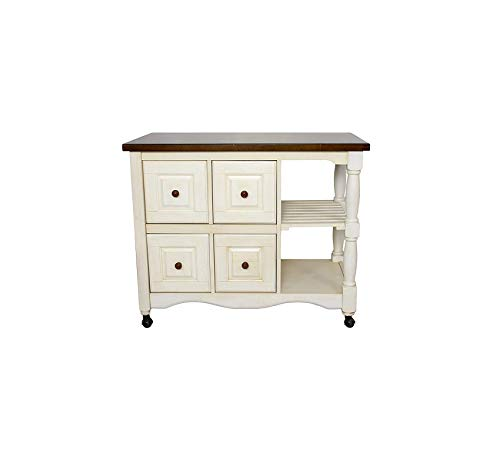 Wood & Style Furniture Kitchen Cart, Antique White and Chestnut Home Office Commerial Heavy Duty Strong Décor