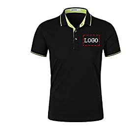 Personalized Customized Men's Polo Shirts Casual Slim Fit Cotton Collar Shirt Add Your Logo Text on Work Shirt