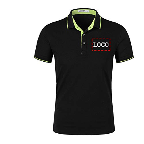 Personalized Custom Text Logo Jersey Men's Polo Shirts Mens Dress Shirt (Black-L)