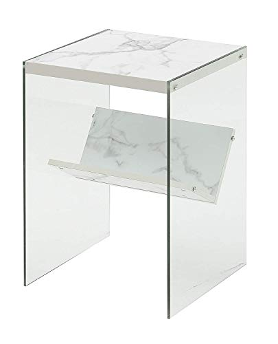 Convenience Concepts Soho End Table, Faux White Marble