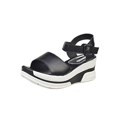 Sandalias De Verano, Inkach Sandalias De Verano Para Mujer Zapatos Bajos Peep-toe Sandalias Romanas Chanclas De Mujer Negro