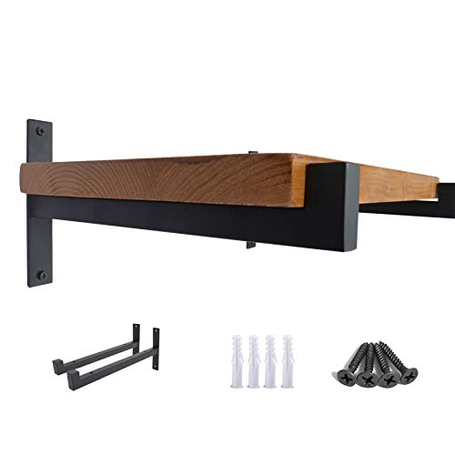 OVOV 2 Pcs Steel Heavy Duty Shelf Brackets Wall Mounted Industrial Metal Shelf Supports Matte Black 6 Inches (Foot 6 Shelf)