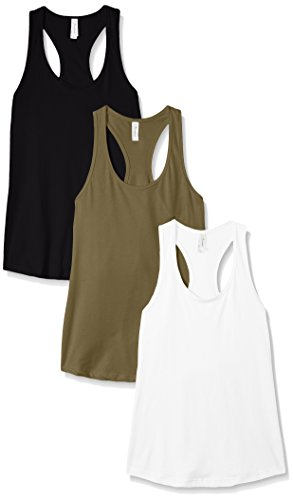 Tank Racer Womens Summer (Clementine Apparel Women's Petite Plus Ideal Racerback Tank (Pack of 3), White\Black\Military, M)