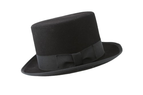 Broner Black Top Hat with Ribbon Band Black Wool Tophat Hat Size: Medium