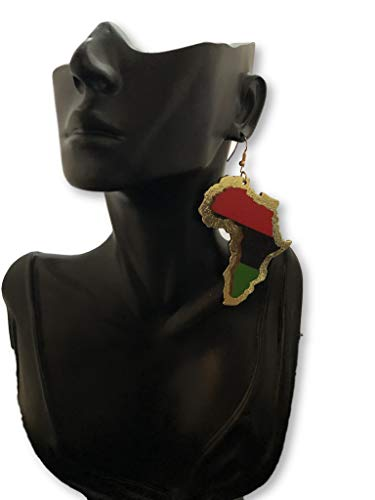 - African map Unique Colorful Wooden Natural Hair Jewelry Wooden Earrings - African American Flag Colors Earrings - Black History Earrings African Flag Colors Kenya Flag Colors