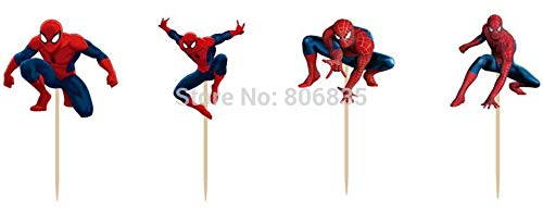 KBN Cupcake Toppers SpiderMan 24 Pc Quality Birthday Kids Party Supplies Pick Cake Toppers -