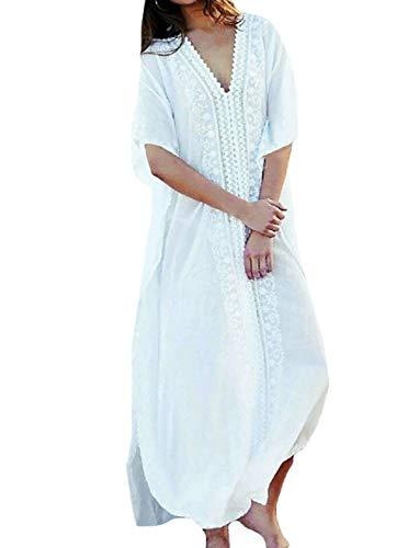 MeiLing Women's Print Kaftan Nightgown Long Caftans Beach Maxi Dress Bikini Swimsuit Bathing Suit Cover Up Swimwear (White B)
