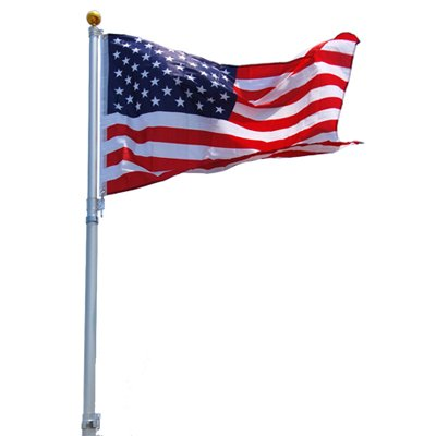 25' 25 FT Feet Aluminum Telescoping Flagpole Kit with The United States of America USA Flag