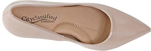 City Classified Super Cushioned Memory Foam Inner Sole Comfort Coen-h Medium High Heel Pointy Toe Pump Beige Patent NogFI