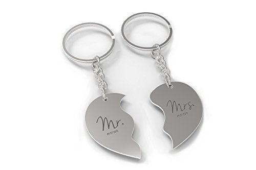 Mr. and Mrs. Couple Key Chain - Heart Shaped Key Ring - Custom (Heart Silver Plated Key Ring)