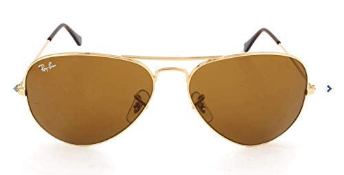 Ray-Ban RB3025 Aviator Sunglasses, Gold/Brown, 55 ()
