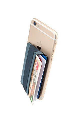 Sinjimoru Phone Grip Card Holder, Cell Phone Wallet Sticker for Back of Phone with iPhone Finger Gripper Storing Credit Cards, ID Holder Card Wallet. Sinji Pouch Band, Blue Gray