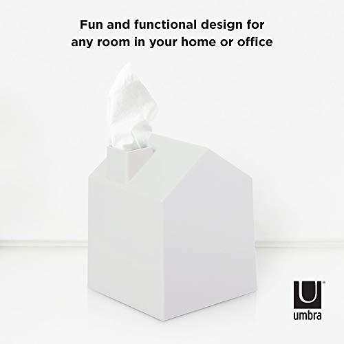 Umbra Casa Tissue Box Cover - Adorable House Shaped Square Tissue Box Holder for Bathroom, Bedroom or Office, White