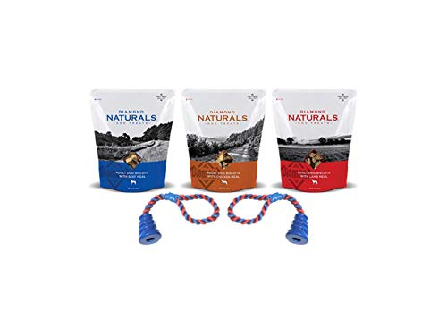(Diamond Natural Dog Treats 1 Lamb 1 Chicken 1 Beef 16 oz Each (3) Total Bags Plus 2 Dog Toys)
