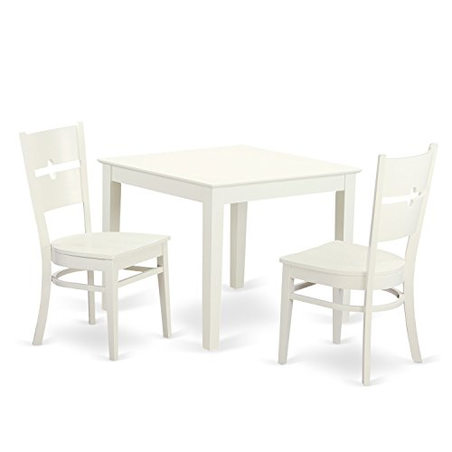 East West Furniture OXRO3-LWH-W 3 Piece Oxford Table and Two Hardwood Dining Room Chairs in Linen White Finish