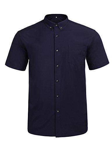 Big Tall Dress Shirts - Jeopace Men's Big & Tall Casual Button-Down Shirts Short Sleeve,Stretch (Dark Blue, 3XL/215)