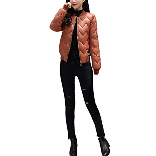 Moda Plumas Outerwear Slim Color Brown Cómodo Fit Invierno Parkas Acolchada Otoño Manga Abrigos Cremallera Retro Termica Espesar Elegantes Sólido Chaqueta Larga Mujer O8nqHwBA