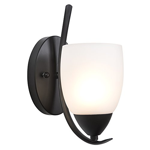 Yosemite Home Decor 1261-1WS-ORB  1 Light Vanity with White Etched Glass, Bronze