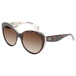 Dolce and Gabbana 4236 2841T5 Havana Aqua Peach Flowers 4236 Cats Eyes Sunglass