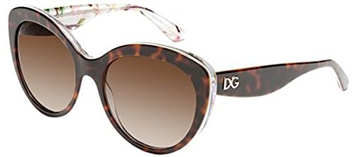 Dolce and Gabbana 4236 2841T5 Havana Aqua Peach Flowers 4236 Cats Eyes - Eye Glasses Dolce Gabbana Cat