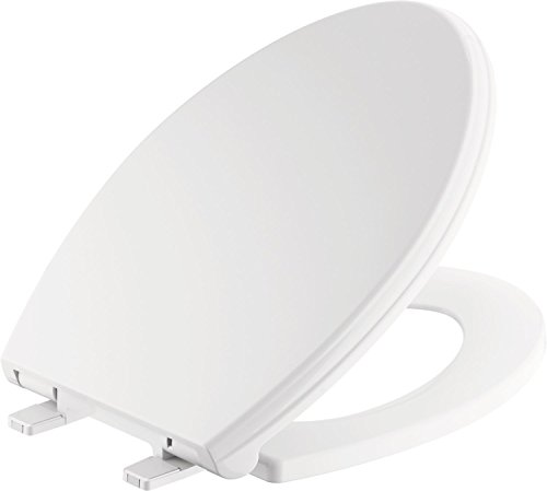Replacement Faucet Seat - Delta Faucet 811901-WH Wycliffe Elongated Slow-Close Toilet Seat with Non-slip Seat Bumpers, White
