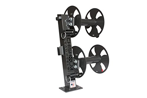 10'' GREY Heavy-Duty FIXED-BASE Double Welding Cable Lead Reel Holds up to 150' of 1/0 Cable by CHISHOLM