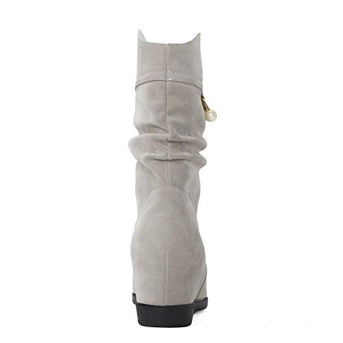 AgooLar Damen Niedrig-Spitze Ziehen auf Niedriger Absatz Rund Zehe Stiefel mit Juwelen, Schwarz, 36