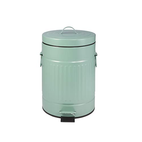 YZLJ Color Trash Can, Round Metal Recycling Bin Retro Bathroom Living Room Roman Grain Covered Wastebasket 5L (Color : - Pedal Retro 5l Bin