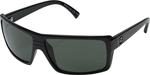 VonZipper Snark Rectangular Sunglasses,Black Gloss & Grey,One - Von Zipper Glasses