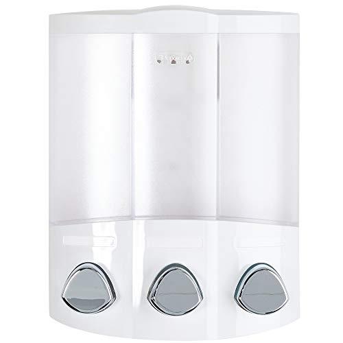 Better Living Products 76354 Euro Series TRIO Dispensador de jabón y ducha de 3 cámaras, blanco
