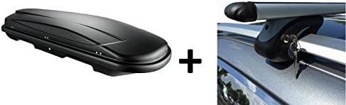 Vdp Dachbox Schwarz Juxt 400 Großer Dachkoffer 400 Liter Abschließbar Alu Relingträger Dachgepäckträger Für Audi A4 Avant 96 07 Auto