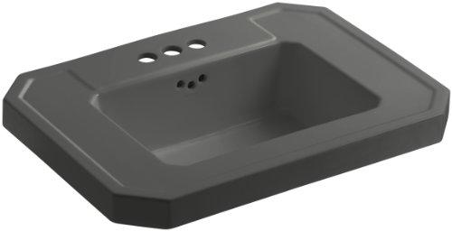 Grey Kathryn Pedestal Lavatory (KOHLER K-2323-4-58 Kathryn Bathroom Sink Basin with 4