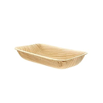 "CiboWares Premium 4"" x 2.5"" Rectangle Areca Palm Leaf Dips, Eco-Friendly and Disposable for Home and Catering, Package of 25"