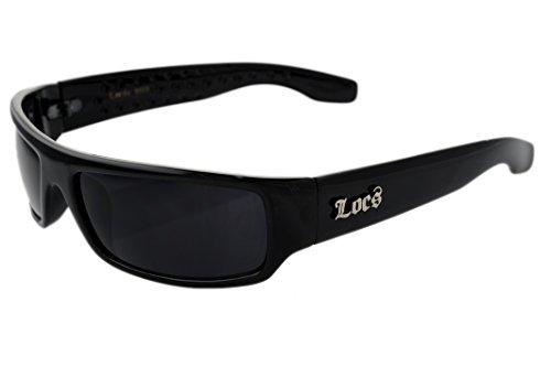 Official LOCS Hardcore Shades Black with Dark Lens Gangsta Style Sunglasses - Ray Bans Fake Cheap Wayfarer