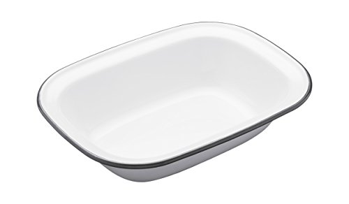 Kitchen Craft 22 x 16 x 5 cm Living Nostalgia Enamel Oblong Pie Dish, White/Grey