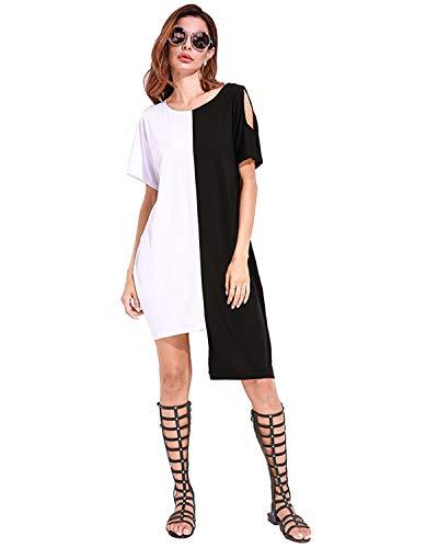 (Celmia Women Cold Shoulder Shirt Dresses Colorblock Midi Dress Asymmetric Hem White S)
