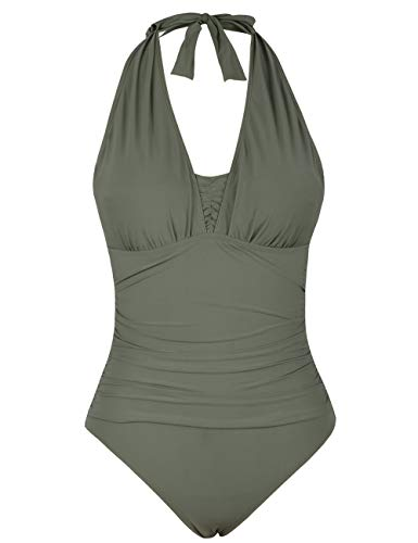 - Firpearl Women's One Piece Bathing Suits Halter Ruched Monokini Swimwear 16 Army Green