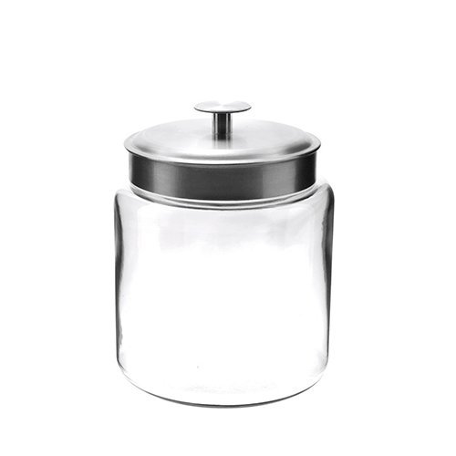 Anchor Hocking 77978 Mini Montana Jar with Brushed Aluminum Metal Cover, Glass, 96-Ounce (Montana Anchor Jar)