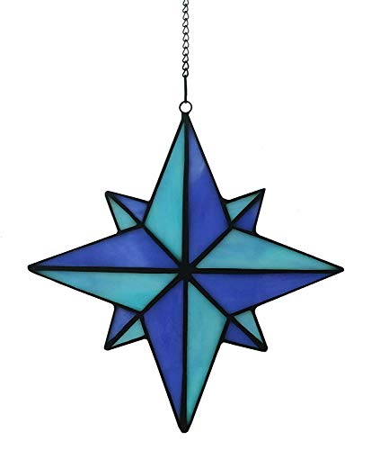 Alivagar Stained Glass Blue Star Window Hangings Suncatcher Stars, 7