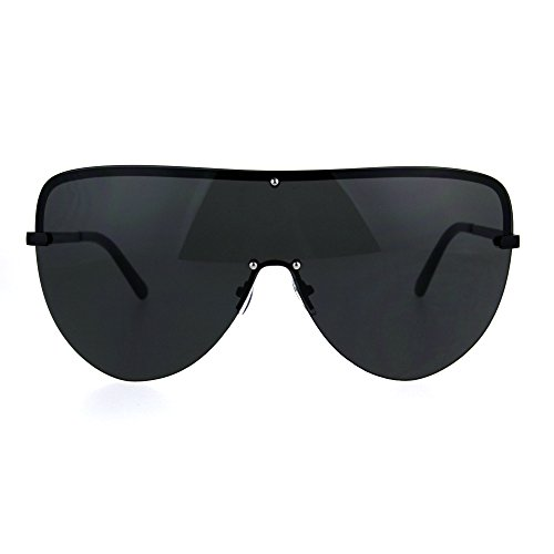 Oversize Rimless Shield Metal Rim European Designer Fashion Sunglasses All - Glasses Designer All