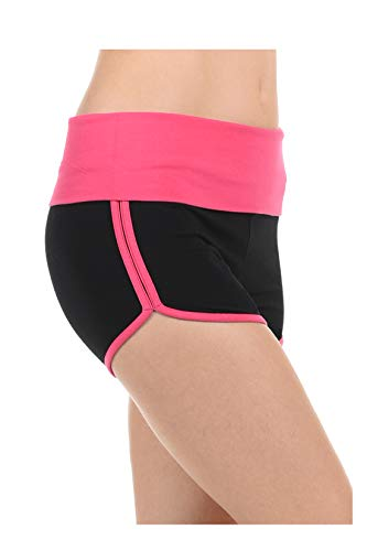 Athletic Curves Trimming Hot Yoga Shorts: Booty Shorts Sexy BLK/Pink S ()
